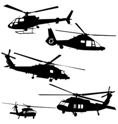 helicopter silhouette set in black vector image