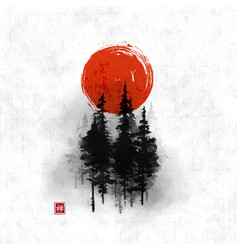 High green pine trees in fog and big red sun vector