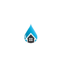 Home icon inside a drop of water for the house vector