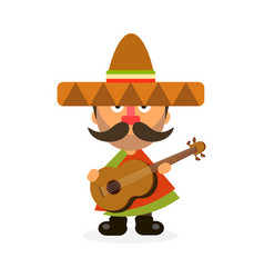 hot mexican in sombrero vector image