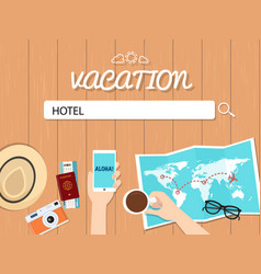 hotel search graphic for vacation vector image