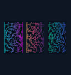 Image distorted holographic pearly neon mesh vector
