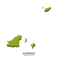 Isometric map of Guernsey detailed vector image