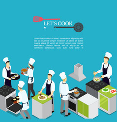 isometric professional cooking template vector image