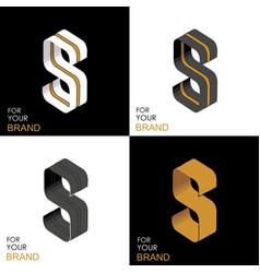 isometric set letter s black white gold palette vector image