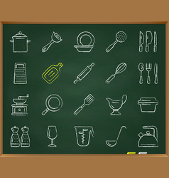 Kitchenware chalk draw line icons set vector