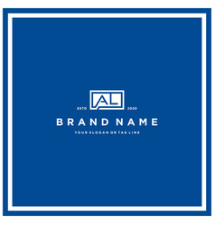 Letter al rectangle logo design vector