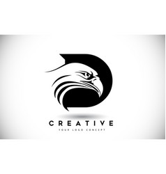 letter d eagle logo with creative eagle head vector image