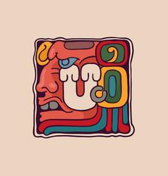 Letter u logo in aztec mayan or incas style vector