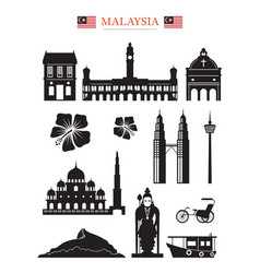 malaysia landmarks architecture building object vector image