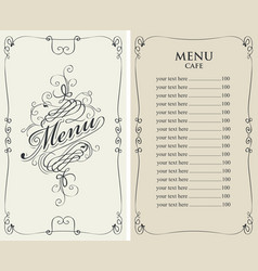 Menu for cafe with price list and curlicues frame vector