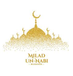 Milad un nabi golden sparkles mosque card design vector