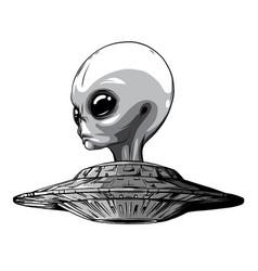 Monochromatic space aliens ufo icon vector