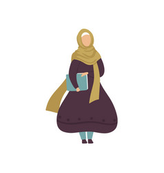 Muslim woman holding folder with papers modern vector