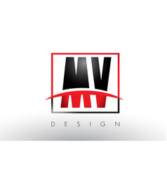 mv m v logo letters with red and black colors and vector image