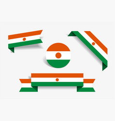 Niger flag stickers and labels vector