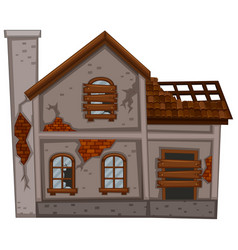 Old house with broken roof vector
