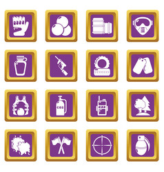paintball icons set purple square vector image