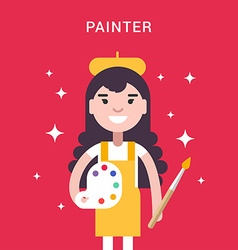 Painter Concept Female Cartoon Character with vector image