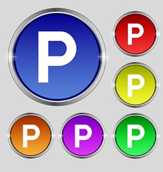parking icon sign Round symbol on bright colourful vector image