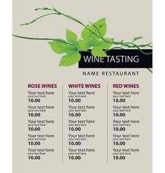 Price list of wine vector
