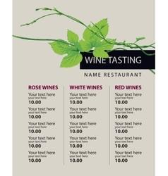 Price list wine vector