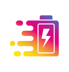 quick and fast battery charging icon with thunder vector image