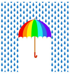 rainbow umbrella under rain greeting card stock vector image