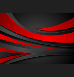 Red and black abstract wavy corporate background vector