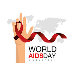 Red ribbon in the hand to world aids day vector