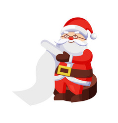 Santa clauses with wish list sits on wooden stump vector