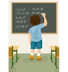 Schoolboy solves arithmetical on blackboard vector