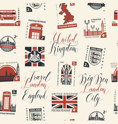 seamless pattern on uk theme with postage stamps vector image