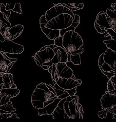 Seamless pattern with drawing poppy flowers vector