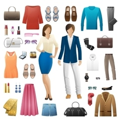 Set clothes fashion look style flat design vector