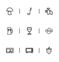 Set of 9 editable cook outline icons includes vector