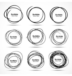 Set of 9 Hand Drawn Scribble Circles design elemen vector image