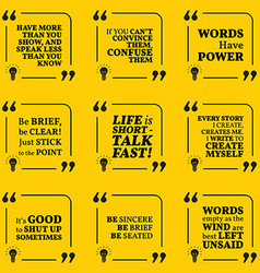 Set of motivational quotes about speech words talk vector