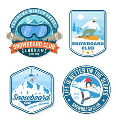 Set snowboard club patches concept vector
