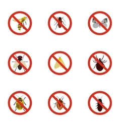 Signs of insects icons set flat style vector image