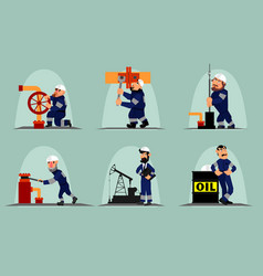 Six oil workers vector
