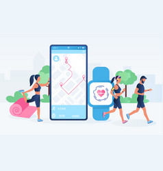 smartwatch app and fitness tracker technology vector image