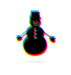 Snowman flat icon with shadow vector