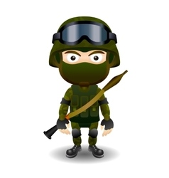 Soldier rpg military character combat black mask vector image