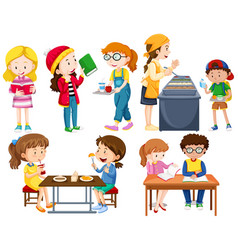 students doing different activities vector image