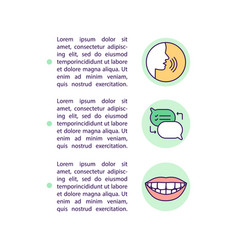 Teaching kids to talk concept line icons with text vector