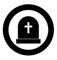 Tomb stone black icon in circle vector