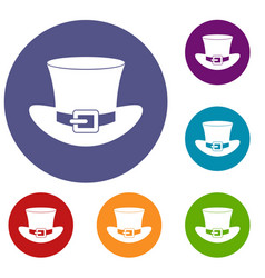 Top hat with buckle icons set vector