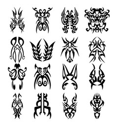 tribal tattoos design sketches set vector image
