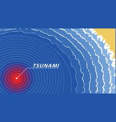 Tsunami warning wave signal sea top view vector